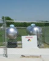 Two 1000 gallon propane tanks installed at a dispensing station