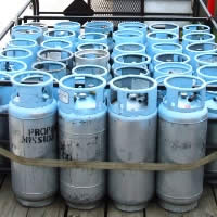 Propane forklift cylinders ready for delivery